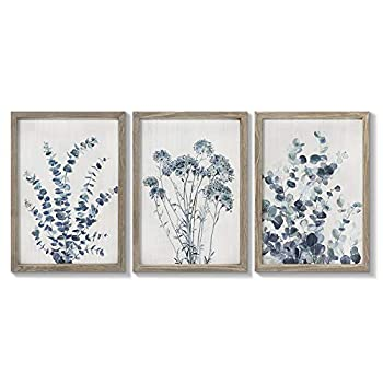 takfot Rustic Wall Decor Vintage Wall Art Botanical Painting Blue Print Floral Art Picture Framed Home Decoration for Bedroom 8x12 Inch 3 Panels