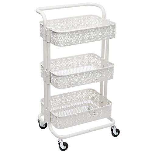 DOEWORKS 3-Tier Mesh Metal Utility Cart, Rolling Organizer Storage Cart with Handle, White