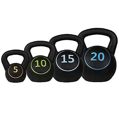 Confidence Fitness Pro Vinyl Kettle Bell Weight Set - 4 Kettlebells 5lbs 10lbs 15lbs 20lbs from Confidence