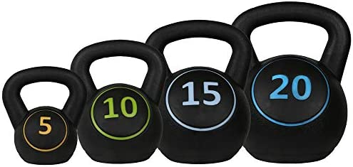 Confidence Fitness Pro Vinyl Kettle Bell Weight Set 4 Kettlebells 5lbs 10lbs 15lbs 20lbs product image