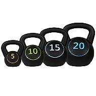 Confidence Fitness Pro Vinyl Kettle Bell Weight Set - 4 Kettlebells 5lbs 10lbs 15lbs 20lbs