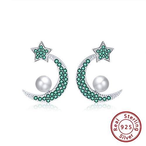 NA - Pendientes para mujer S925, plata perla, color rojo, circonio cúbico, verde