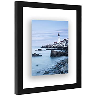 Americanflat 8.5x11 Inch Floating Document Frame - Modern Picture Frame Designed to Display a Floating Photograph, Black