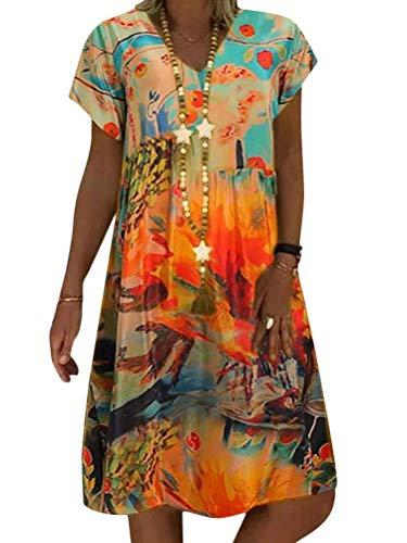 Minetom Mujer Vestido Casual Manga Corta Swing Vestidos Floral V Cuello Una Linea por la Rodilla Dress E Naranja 48