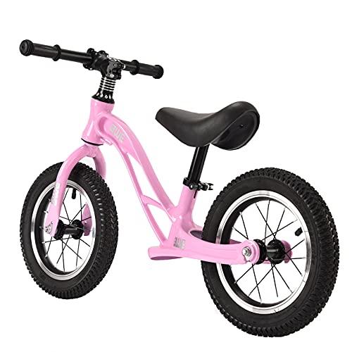 Bicicleta de equilibrio de 12 'para niños de 2 a 5 años, entrenamiento de equilibrio para caminar sin pedales, altura del asiento ajustable de 35 a 45 cm, marco de acero al carbono ligero,Rosado