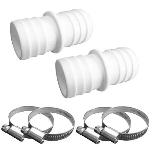well2wellness® 2 x Schlauchverbinder 38 mm Plus 4 Schlauchschellen