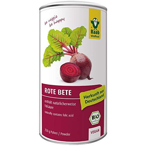 Raab Vitalfood Bio Rote Bete-Pulver, reich an Folsäure, vegan, glutenfrei, laborgeprüft & hergestellt in Deutschland, heimisches Superfood, 250 g Dose