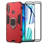 XIFAN Funda para Huawei Y6p, [Robusto] Anillo Metálico Soporte [Funciona con El Montaje De Coche Magnético] Case Carcasa, Rojo + 2 Piezas Protector de Pantalla