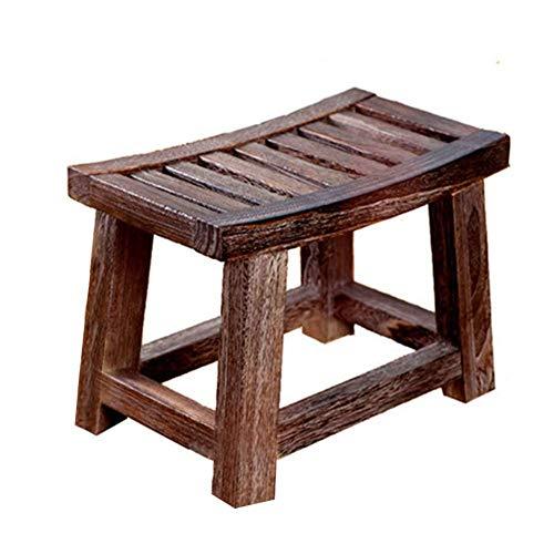 HLH Taburete Antiguo y Moderno con sillín Corto, Madera de Paulownia Natural, Superficie Lisa y diseño antiincrustante, Muebles de Estilo clásico y Muebles Modernos para el hogar.