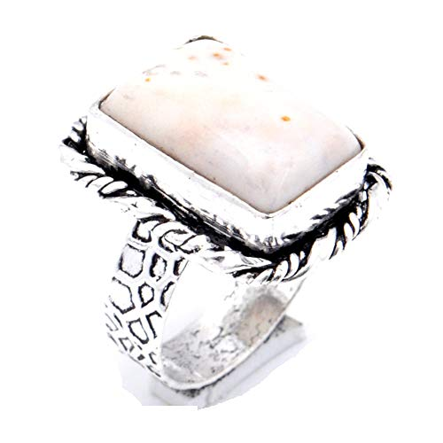 Gray Dendrite Agate! Girls Ring, Sterling Silver Plated Handmade Art Jewelry! Full Variety Store for Wedding Anniversary Birthday Party Gift, Ring Size 8 US