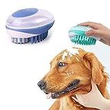 CZNDY Cepillo de Masaje para Mascotas,Cepillo de baño para Mascotas,Herramienta de Aseo para champú,Cepillo de Goma para Mascotas con dispensador de champú Integrado (Azul)