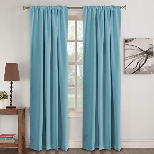 "Turquoize Solid Thermal Insulated Curtains for Kids Room Back-Tab/Rod-Pocket Blackout Window Panels for Nursery & Infant Care, Sold per Pair - Color Aqua - 52"" W x 84"" L"