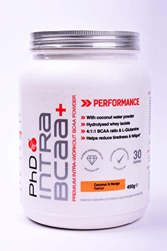 PhD Nutrition Intra BCAA+ Supplement Powder, Coconut and Mango, 450 g