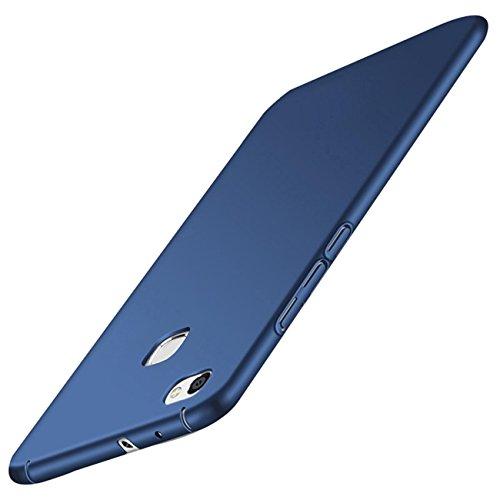 Qissy Carcasa Huawei P10 Lite Todo Incluido Anti-Scratch Anti-Huella Dactilar a Prueba de Choque Suave Protective Case Cover Skin para Huawei P10 Lite Color Negro Azul teléfono (Azul)