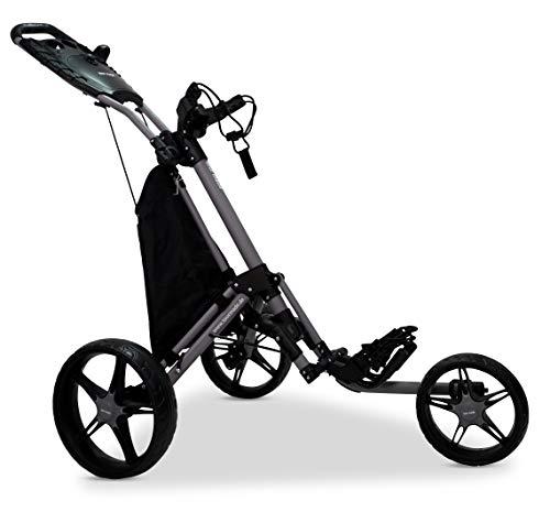 tour-made RT-140 V2 3-Rad Golf Push Trolley Pushtrolley Golftrolley 3-Rad (matt-grau-schwarz)
