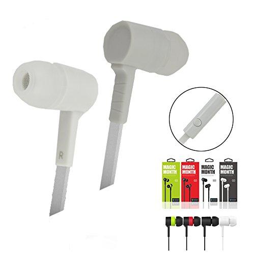 Emartbuy Xidier Blanco En Oreja Stereo High DefinitiEn Oreja Estéreo Alto Definición Auriculares Plano Cable con Micrófono Incluido Apto para Komu K30 / Komu K45 / Komu K60 / Komu K20 Smartphone: