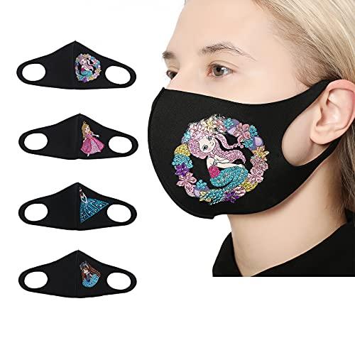 4 paquetes de kit de pintura de diamante para adultos, 5D con diamantes para decoración de las caras, máscaras faciales para mujer, algodón transpirable, diseño de hadas, para trabajo escolar