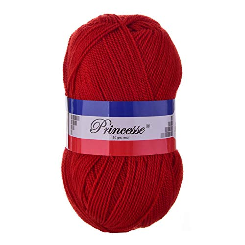 10x50g Strickgarn PRINCESSE Strick-Wolle Klassikgarn Handstrickgarn Häkelgarn Farbwahl, Farbe:085 rot