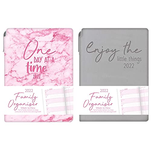 2022 A6 Week to View Diary Family Organiser & Pen: Typography Glossy Design Random