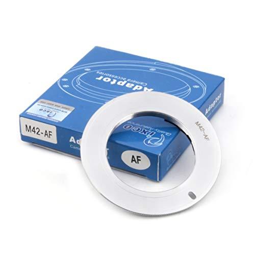 Pixco AF Confirm Adaptador M42 de montura de tornillo a Sony Alpha Minolta MA A77II A58 A99 A65 A57 A77 A900 A55 A35 A700 A580 A560 A550 A500 cámara plateada (M42-Sony)