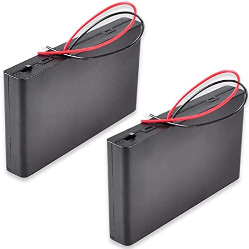 Greluma 2 Piezas 12V 8xAA Soporte de Batería Caja de Almacenamiento de Batería de Plástico con Tapa de Caja Interruptor de Encendido/Apagado con Cables