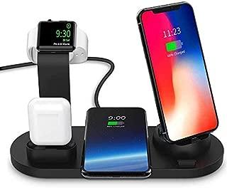 ワイヤレス充電スタンド Winhi 4-in-1 Apple Watch スタンド 置くだけ充電 iPhone/Apple Watch/Airpods充電器 iPhone X/XS/XR/XS Max/ 8/8 Plus Qi 7.5W急速充電対応 Galaxy S9/S9 Plus/Note8/S8/S8 Plus/S7/S7 Edge/S6 Edge Plus 10W対応 その他Qi対応機種も適用 (ブラック)