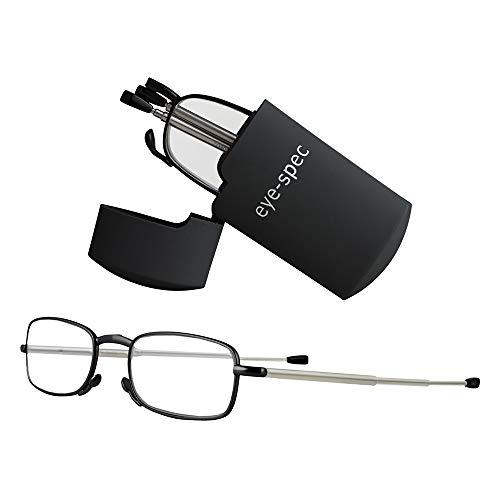 Faltbare Lesebrille mit schwarzem Taschenformat Mini-Etui   Stilvolles kompaktes Design in 7 Farben und mit 9 verfügbaren Sehstärken erhältlich von eye-spec (2,0)