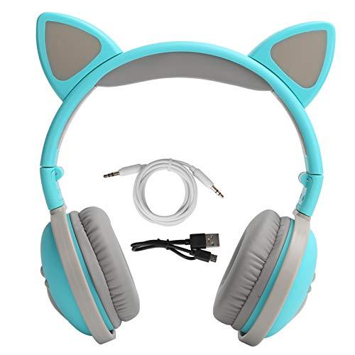 Gato oído auriculares Bluetooth inalámbrico Auriculares deportivos Auriculares Led Auriculares con luz LED (verde)