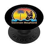 Vintage Sunset Dog German Shepherd PopSockets PopGrip: Agarre intercambiable para Teléfonos y Tabletas
