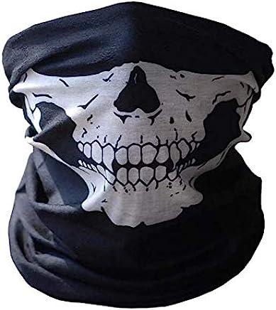 Skull Tubular Protective Dust Mask Bandana Motorcycle Polyester Scarf Face Neck Warmer for Skiing Motorcycle Biking