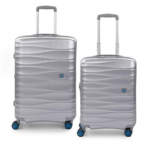 RONCATO Stellar - Juego de 2 maletas rígidas expandibles (media + cabina) Silver