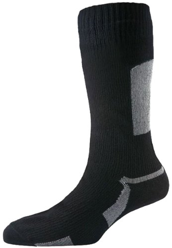 SealSkinz Herren Socken Thin Weight Mid Length, Black, S