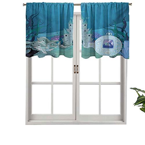 Hiiiman Cortina opaca para ventana con bolsillo para barra, diseño de castillo de sirena con delfines, musgo y vigas de sol, juego de 2, 137 x 91 cm para sala de estar, cortina recta corta