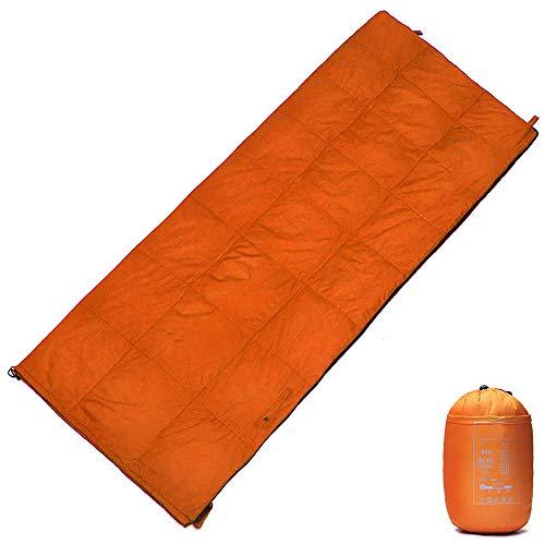WODEPP Sac De Couchage Intérieur vers Bas, Sacs Couchage Plafond avec Sac Compression, Température Confort 5°C-25°C, 4 Saisons, Lit, Camping, Randonnée, 680G,Orange