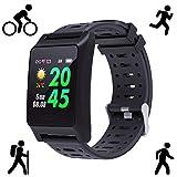 BANAUS W10 GPS Running Smartwatch Fatigue Analysis Heart Rate/Sleeping/Fatigue Monitor IP68 Waterproof Fitness Tracker with Multi-Sports Mode(Black)