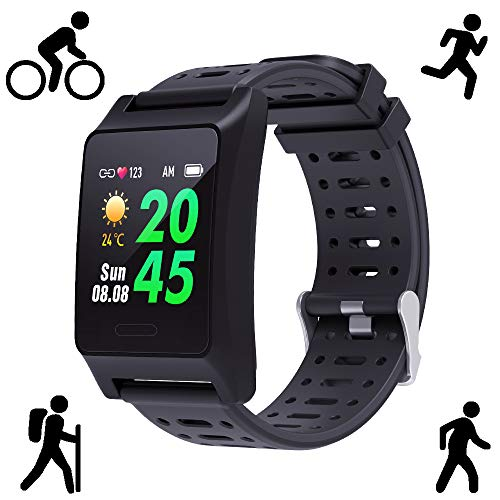 BANAUS W10 GPS Running Smartwatch Fatigue Analysis Heart Rate/Sleeping/Fatigue Monitor IP68 Waterproof Fitness Tracker with Multi-Sports Mode(Black)