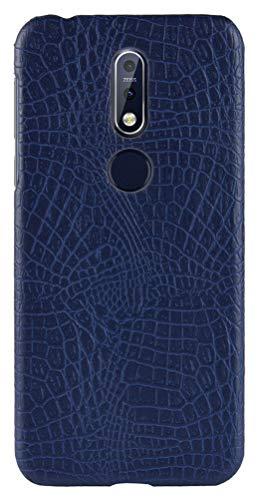 CHENXI Capa Para Nokia 8.1 (Nokia X7),Capa Protetora de PC Rígido Anti Derrapante com Padrão de Crocodilo Ultrafina Adequada Case Cover Para Nokia 8.1 (Nokia X7) -Azul