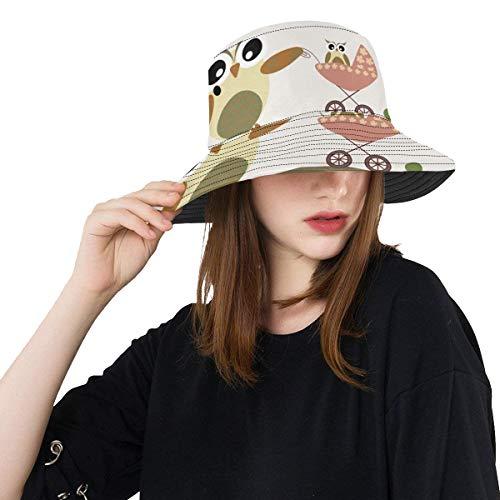 Disfrute de Happy Owl Family Summer Unisex Fishing Sun Top Bucket Sombreros para niños Adolescentes Mujeres y Hombres con Pescador Empacable Gorra para béisbol al Aire Libre Deporte Picnic