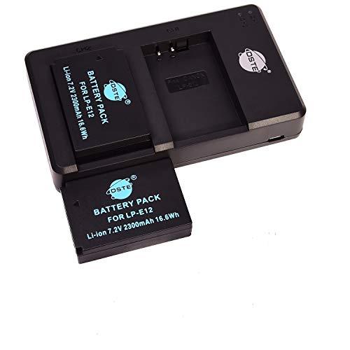 LP-E12 - Batería recargable y cargador dual compatible con Canon EOS M, M2, M10, 100D, Rebel SL1, Kiss X7, M100, M200 (2 unidades)