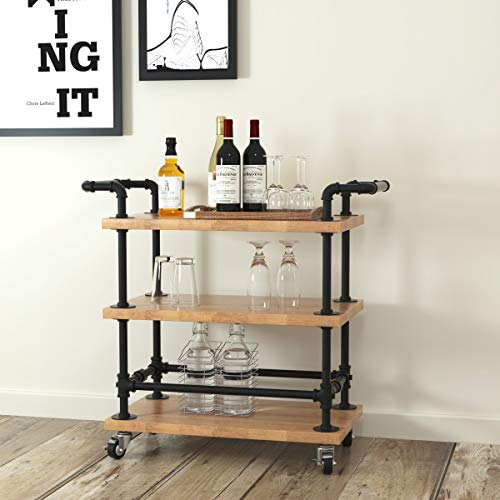 WGX Design For You Industrial 3 Tiers Rolling Carts Serving Carts Kitchen Carts Wine Rack Carts on Wheels with Storage - Solid Wood and Pipe