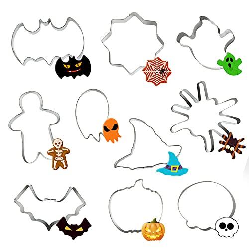 Niwicee 10Pcs Moldes para Galletas De Halloween,moldes Galletas, Galletas,Moldes Galletas Cookie Cutter para Pastel, Cookie Formas Halloween Variadas Fiesta Navidad Galletas (10 piezas , plata)