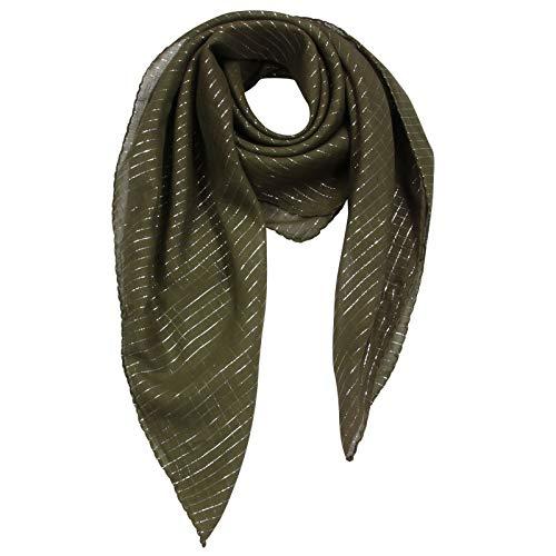 Superfreak Baumwolltuch - grün - olivgrün 2 Lurex silber - quadratisches Tuch
