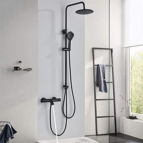 HNBMC Sistema de Ducha de precipitación termostática, Grifo de Ducha de baño Negro de 8 Pulgadas de Doble Mango, Grifo de Ducha de Pared Ajustable de Altura Grifo