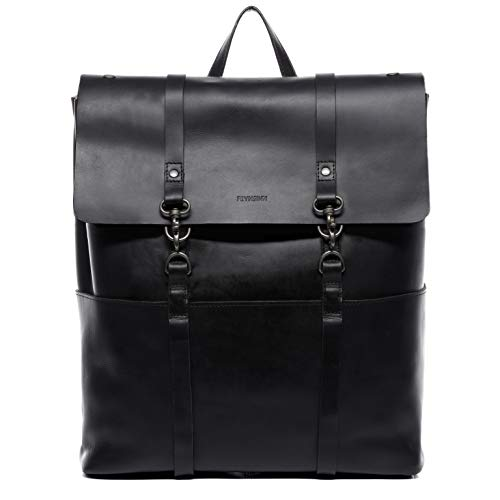 "FEYNSINN Rucksack echt Leder VAL XXL groß Kurierrucksack Laptoprucksack Backpack Tagesrucksack Laptopfach 15.6\"" Lederrucksack Unisex schwarz"