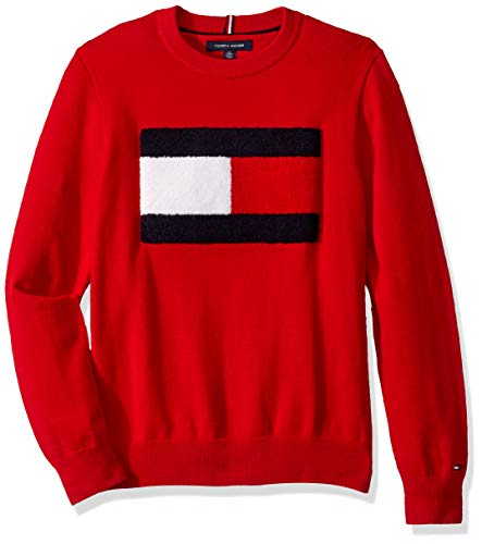 Tommy Hilfiger Men's Cotton Crew Neck Flag Sweater, Haute RED, X-Small