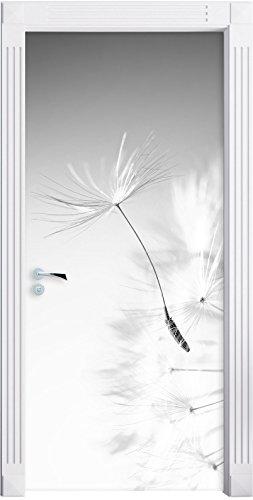 Stil.Zeit Möbel Löwenzahn Schirmflieger Pusteblume Kunst B&W als Türtapete, Format: 200x90cm, Türbild, Türaufkleber, Tür Deko, Türsticker