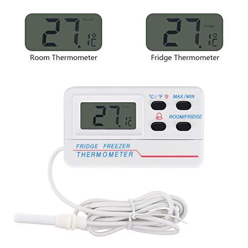 Digital Kühlschrank Thermometer Welltop 2 in 1 Gefrierschrank Thermometer Raumthermometer mit Alarm-Funktion und max/min Funktion LCD Display für Wohnhaus, Restaurants, Cafes, Eisschrank, Kühl