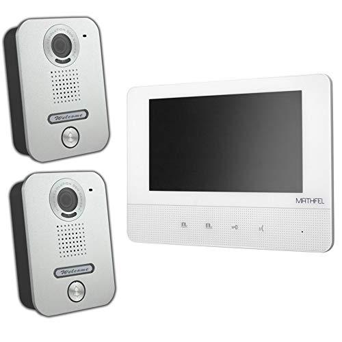 Video Türsprechanlage Türklingel Intercom mit 7\'\' Monitor für 1-Familienhaus, aufputz Montage, Farbe: 2X Kamera, 1x7\'\' Monitor