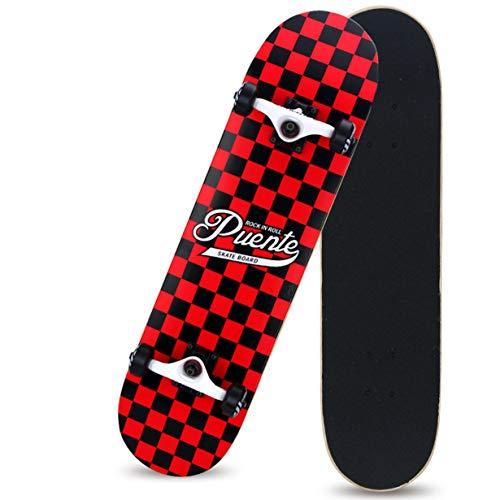 FENGZI Cruiser Four Wheel Skateboard Principiante Double Rocker Highway Skateboard Professionale Quadrato Nero Rosso Lunghezza 31