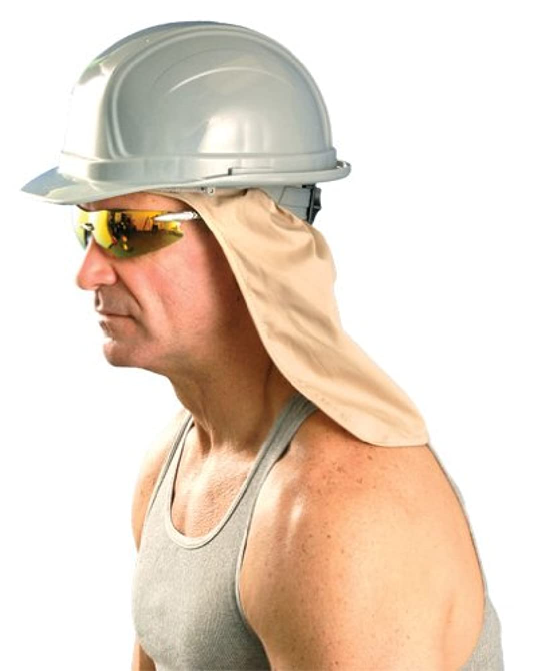 Cooling Hard Hat Neck Shade, w/Terry Sweatband, One Size, Khaki, 971 by OccuNomix